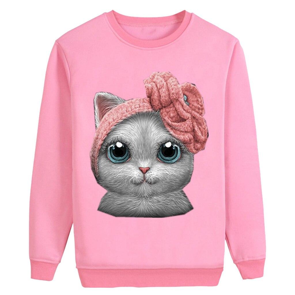 Korean Sweatshirt Women Cute Kitty Print Tops Long Sleeve O-Neck Sweatshirt Casual Pullover Women Autumn Winter bluzy damskie