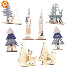 1Set Multi Creative DIY Wood Crafts Christmas Santa/Deer Wooden Ornaments For Christmas Party Home Table Decorations Supplies(China)
