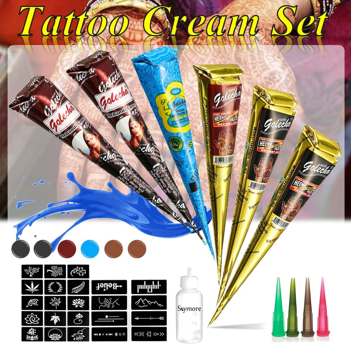 Henna Body Art Set, Tattoo Paste Cones 6pcs + Henna Applicator + Stencil, Sexy Temporary Tatoo Wedding Adult Sex Products