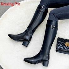 Krazing pot/красивые сапоги из натуральной кожи с металлической пряжкой в стиле панк-рок, сохраняющие тепло высокие сапоги до бедра в жокейском стиле на низком каблуке; l91