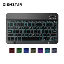 Zienstar 10inch Aluminum Wireless Keyboard Bluetooth with7 Colors Backlit for Apple IOS Android Tablet Windows PC animuss led illuminated backlit wireless bluetooth 3 0 keyboard support ios android windows