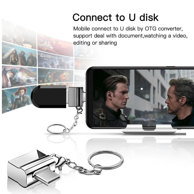 FONKEN USB Type C OTG Adapter Type-C To USB Converter for USB C PD Charger Mouse keyboard flash Disk Portable Keychain OTG Plug 3