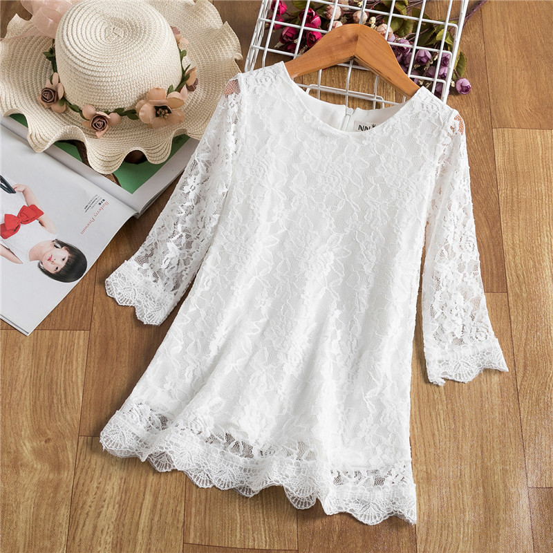 Red Summer Girls Dress For Kids Spring Half Sleeve  Princess Costume Lace Children Flower Embroidery Party Vestido Clothing 3