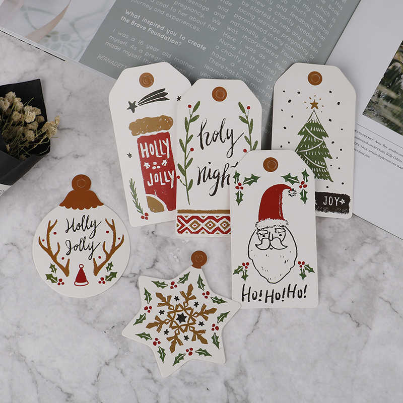 10Pcs/Set Painted Tag Merry Christmas DIY Unique Gift Tag Holly Jolly tag Small Card Optional String DIY Craft Label Party Decor