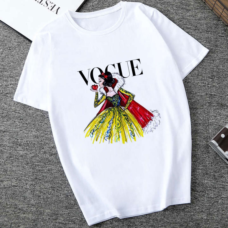 Women White Top Shirt VOGUE Lady Harajuku Print 19 Summer Short Sleeve Fashion Streetwear Tshirt For Women Korean Top Shirt 16