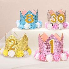 Happy First Birthday Party Hats Decor Cap One Birthday Hat Princess Crown Year Old Number Baby Kids Hair Accessory(China)