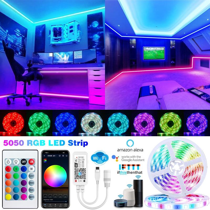 Wifi LED Strip Light Smart alexa Bluetooth Luces Led Lights lamp RGB 5050 5M-30M APP Control Flexible Tape Led Ribbon For Room