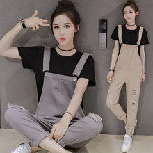 2020 Summer Female Jeans Jumpsuits Women New fashion elegant student Casual Denim Overalls Jeans Rompers Nine points Bib R192(China)
