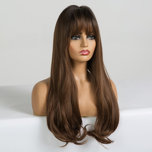 Image 2 - EASIHAIR Long Brown Wave Wigs with Bangs Synthetic Glueless Wigs High Temperature Natural Hair Wig For Black Women Cosplay Wigs