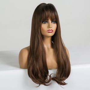 Image 2 - EASIHAIR pelucas onduladas de pelo largo para mujeres negras postizo de pelo largo marrón con flequillo sintético sin pegamento, Peluca de pelo Natural de alta temperatura para Cosplay