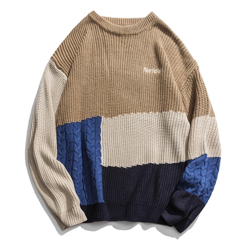 ICPANS Kintted Women Men Pullovers Sweater O Neck Pacthwork Stripe 2019 Winter Autumn Kintting