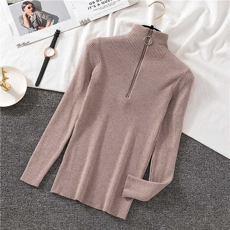 Women Sweater Thin 2020 New Autumn And Winter Zipper Elasticity Slim Female Knitted Pullover Korean Style White Black Green A04