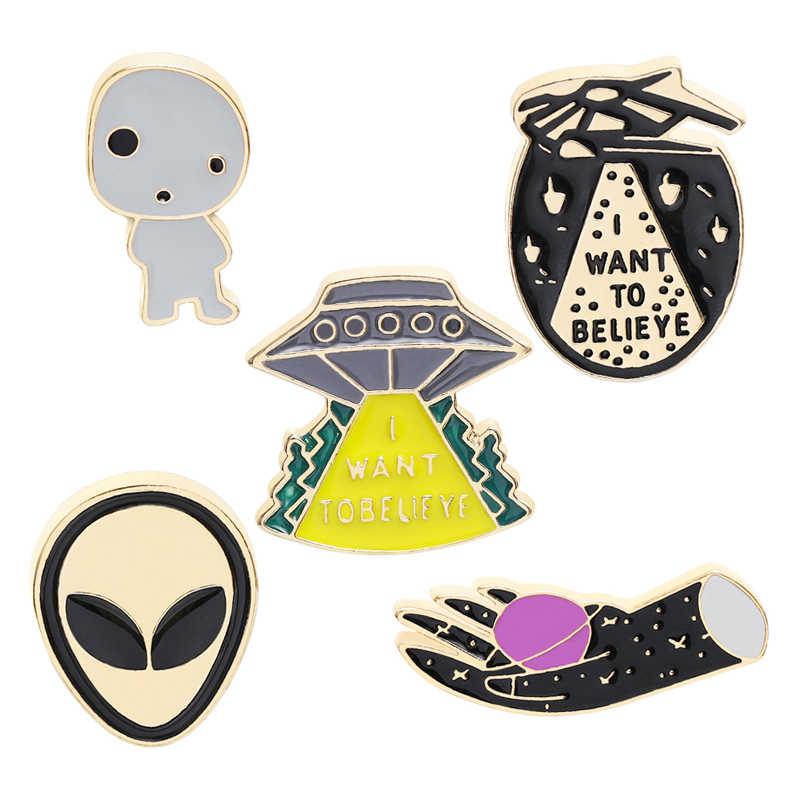 Spilli e spille I want to believe ufo alien dello smalto Spille distintivo UFO Spille Alien Spille Spille pulsante indietro zaino gioielli