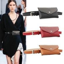 Women PU Leather Waist Belt Pack Solid Color Rivets Ladies Luxury Designer Bags Travel Belt Wallets Crossbody Shoulder Fanny Bag punk style solid color and rivets design women s shoulder bag