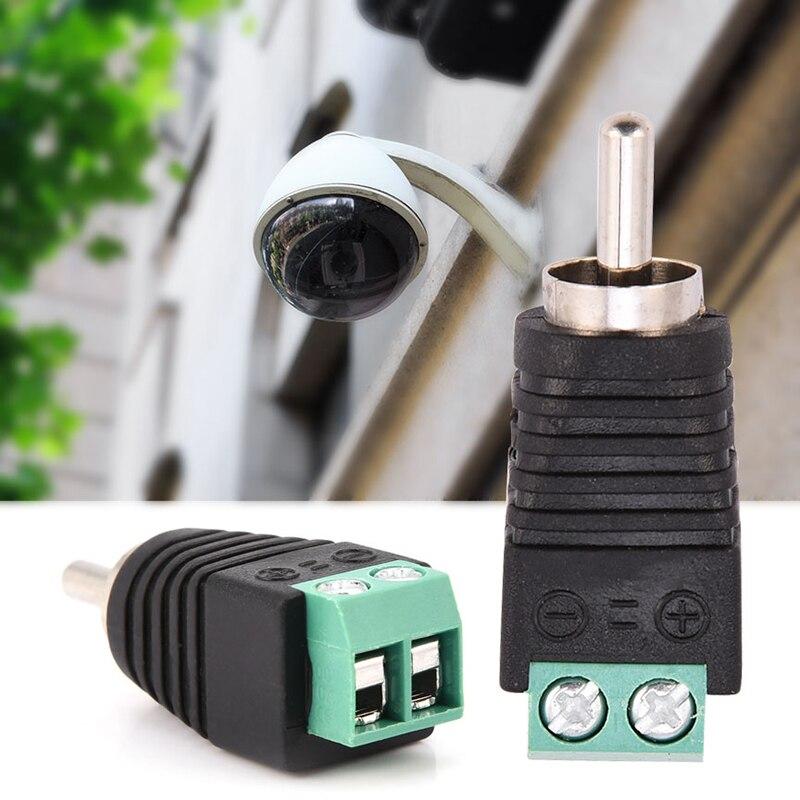 RCA Male Plug To AV Screw Terminal Audio / Video Connector Adapter