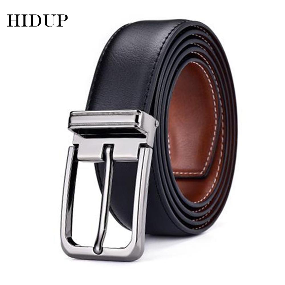 HIDUP Brand Name Real Genuine Belts For Men Retro Style Double Side Faced Leather Belt 3.3cm Fashion Clothing Accessories NWJ679