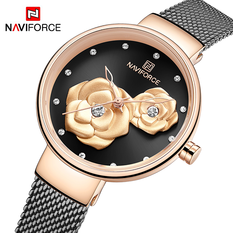 Top Luxury Brand NAVIFORCE Ladies Watch Fashion Creative 3D Rose Women Wrist Watches Casual Dress Clock Relogio Feminino 2019