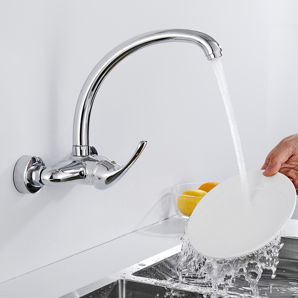 Wall Mounted Kitchen Sink Faucet Mixer Cold And Hot Water Mixer Tap Single Handle Swivel Spout Kitchen Water Sink Mixer Faucets