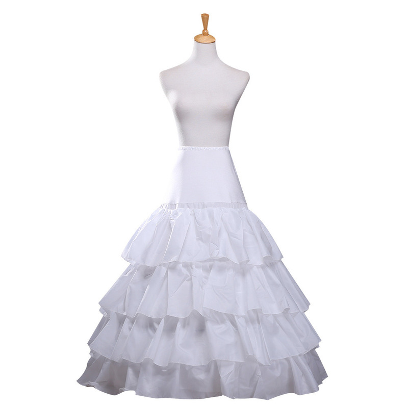YULUOSHA Crinoline Petticoat 3 Hoop 4 Ruffles Layers Ball Gown Half Slips Underskirt For Wedding Bridal Dress White Petticoat