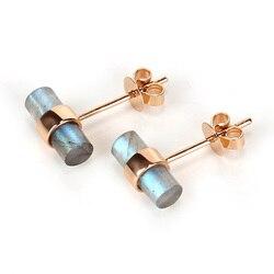 Neue Design! 18k Gold Labradorit Zylinder Ohrringe, Labradorit Ohrringe, 18k Gold Stud Ohrring, 17x10mm, 1,6g