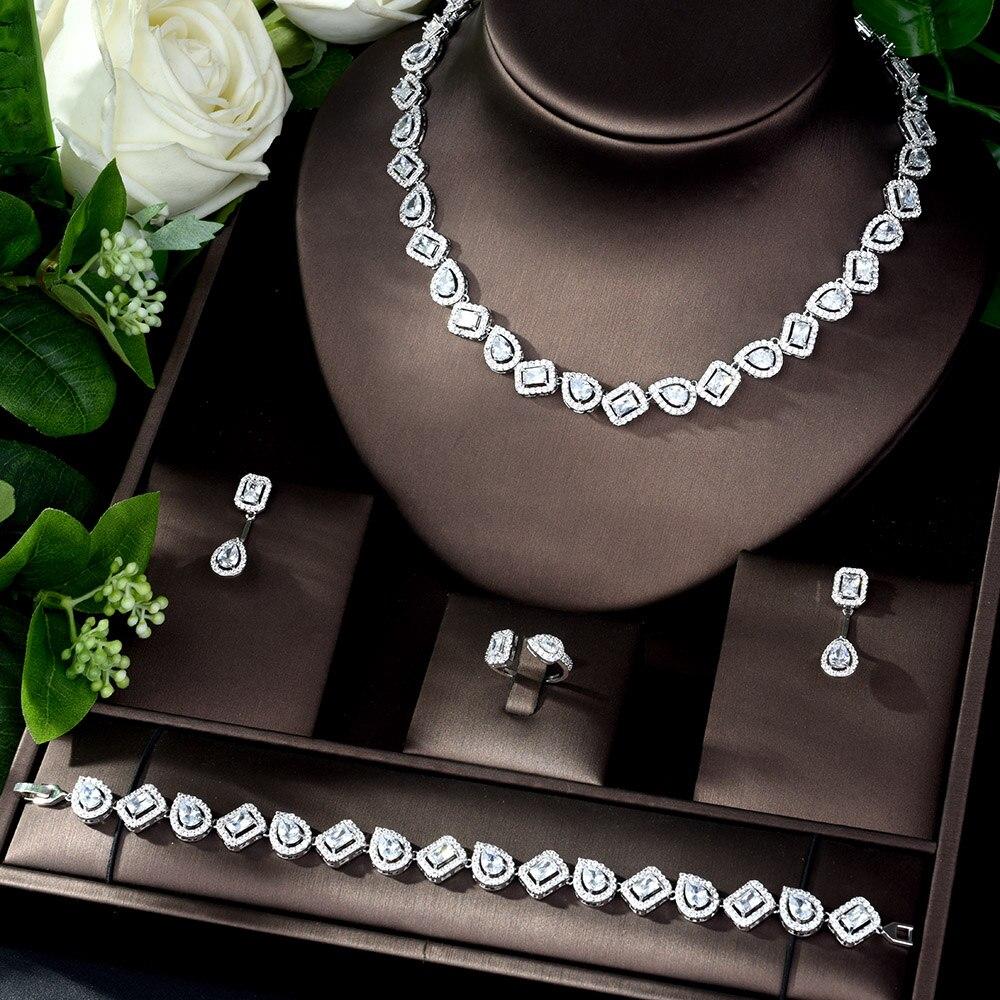 HIBRIDE nouveau étincelant cubique Zircon ensemble de bijoux de mariage forme carrée 4 pièces collier bijoux ensemble de mariée femmes bijoux mariage N-1084