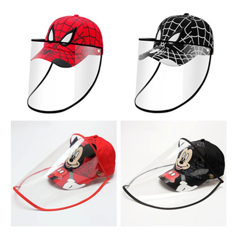 Red Safety Full Face Shield Protective Facial Baseball Cap Detachable Hats