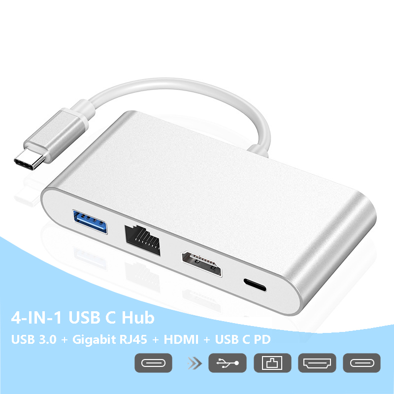 Adaptateur Hub USB Type C pour MacBook Pro Air Dell Hp, commutateur USB C vers HDMI 4K Rj45 USB 3.0 PD, Compatible Thunderbolt 3