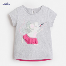 Children 2021 Summer Baby Girl Clothes Animal Print Tee Tops 100% Cotton Pink Strawberry Unicorn T Shirt for Kids 2-7 Years