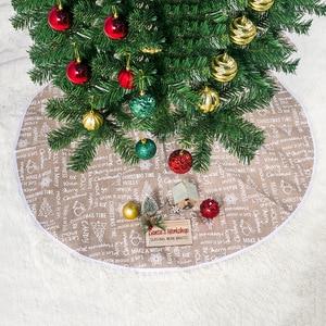 60 см 80 см 100 см юбка для рождественской елки ткань с буквенным принтом платье для рождественской елки юбка для елки фартук вечерние украшени...