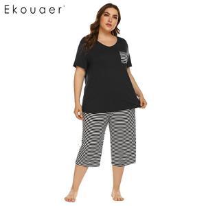 Image 3 - Ekouaer Mulheres Plus Size Conjuntos de Pijama Pijamas de Verão de Manga Curta Tops Listrado Capri Calças Pijama Terno Sleepwear Feminino