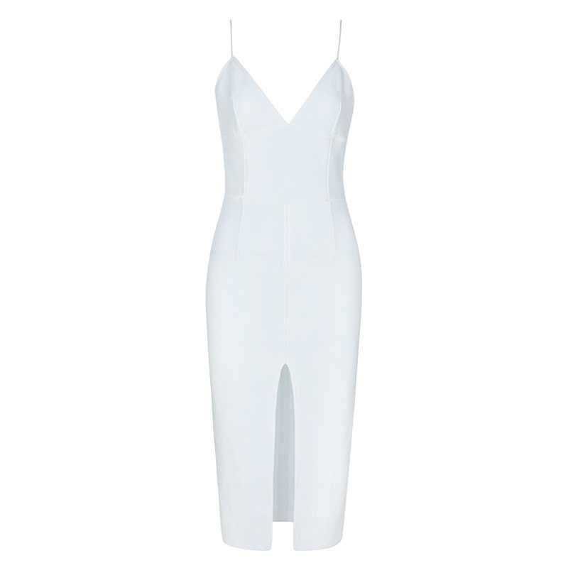 Beateen 2019 yeni moda spagetti kayış Fringe detaylandırma yarık kadınlar bandaj parti elbise beyaz