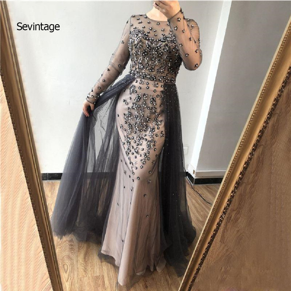 Sevintage Gray Shiny Beaded Crystals Prom Dresses Sheer Long Sleeves Evening Dress With Skirts Formal Party Gown Vestido Longo
