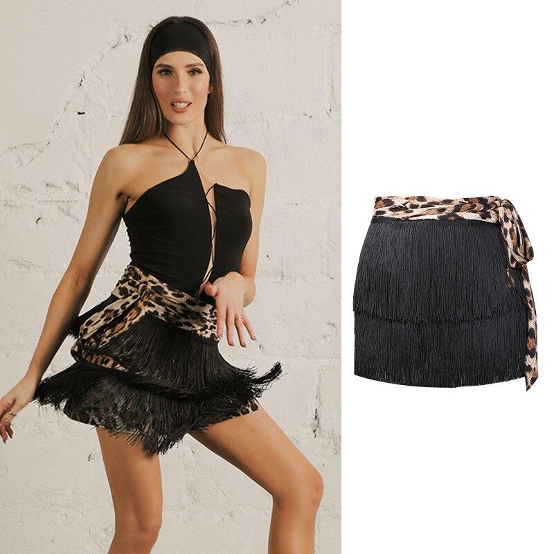 Latin Dance Skirt Leopard Print Double Encryption Fringed Skirts Lady Practice Clothes Tango Salsa Cha Cha Rumba Samba DNV12577