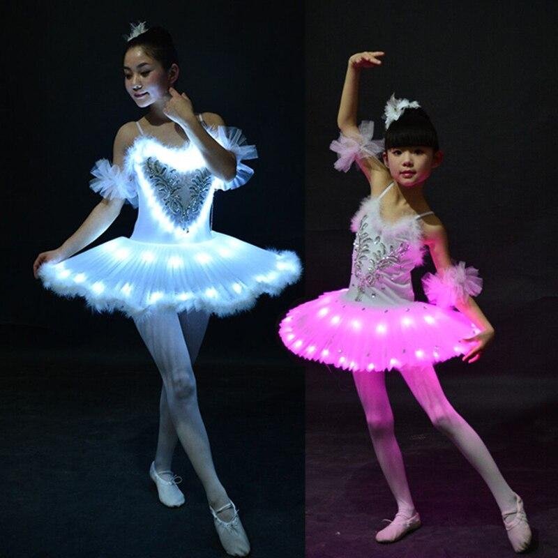 New Professional Ballet Tutus LED Swan Lake Adult Ballet Dance Clothes Tutu Skirt Women Ballerina Dress For Party Dance Costume