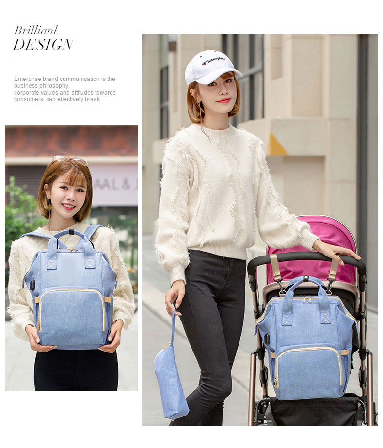 H066ac81c672e47e68e6eac7118215a43B Fashion Mummy Maternity Nappy Bag Waterproof Diaper Bag With USB Stroller Travel Backpack Multi-pocket Nursing Bag for Baby Care