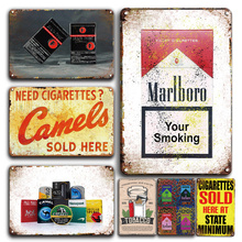 Vintage Cigarettes Sold Here Metal Plaque Sign Smoke Shop Wall Decor Retro Cigarette Brands Tin Poster Signs Fashion Plates