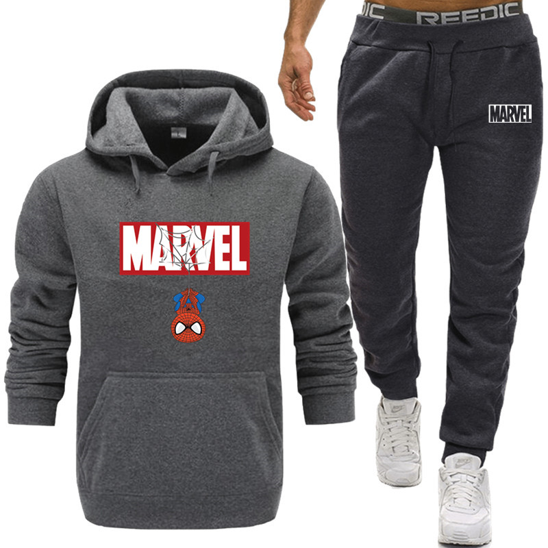 2020 NEW Men's Spiderman Batman Set Jogging  Workout Fitness Tracksuit Men Long Sleeves Sweatshirts Sporting Suit Pant Set