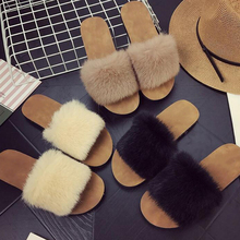 Winter Women Fur Slippers with Faux Fur Fashion Warm Shoes Woman Slip on Flats Female Slides Black Pink Plus Size 41 faux fur decorated flats