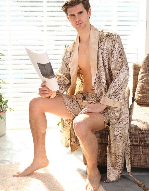 Goocheer L-4xl Men Robe With Shorts 2 Pcs Silk Kimono Men Silk Satin Robe Home Clothes Home Bathrobe Sexy Hombre Robe Male