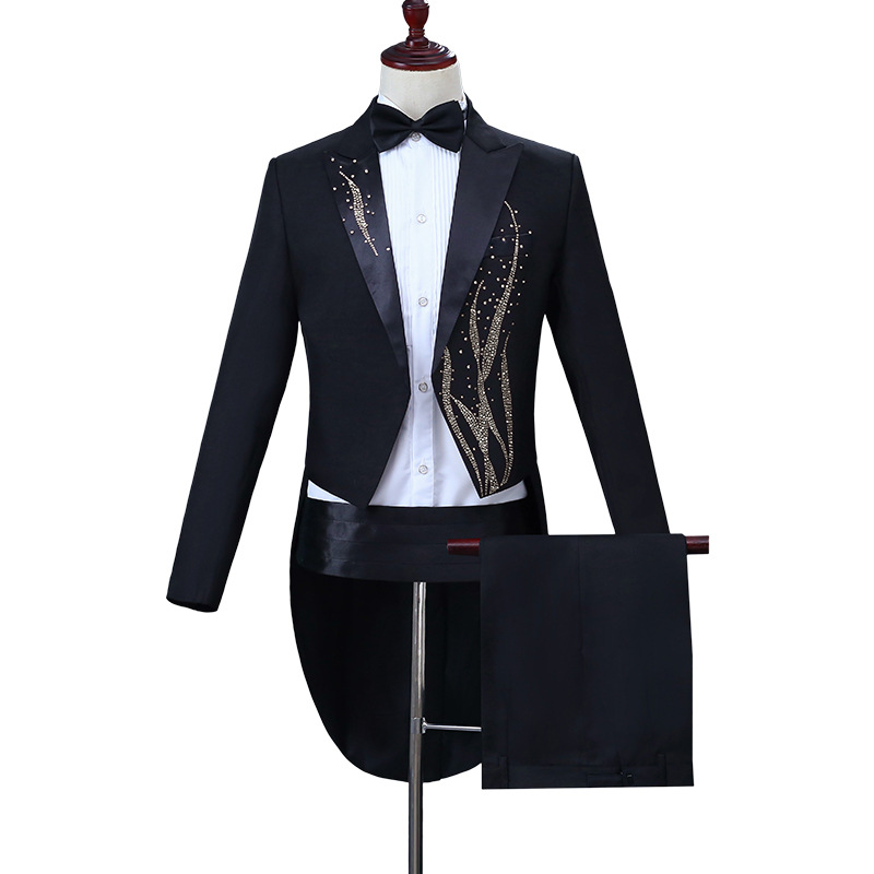 New Plus Size S-4XL Mens Classic Black White Shiny Lapel Tail Coat Tuxedo Wedding Groom Stage Singer Four Piece Suit