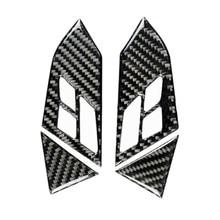 2pcs Real Carbon Fiber Car Steering Wheel Panel Button Frame Trim Car interior sticker For BMW 5 Series E60 2005-2010 zxmt 2pcs carbon fiber interior steering wheel button frame cover for toyota camry 2018 accessories
