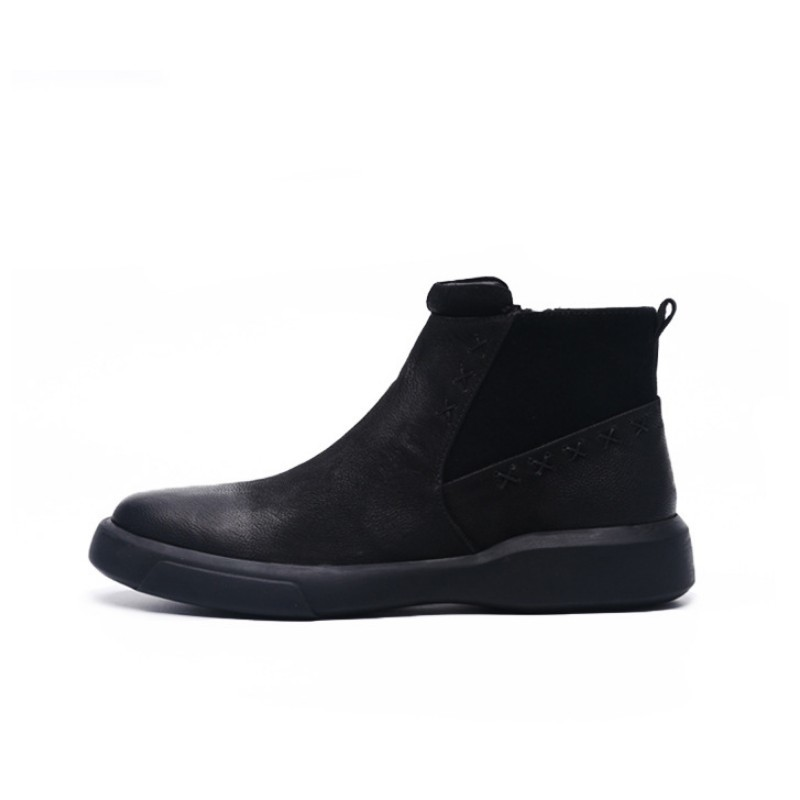 Vintage Zip Men  Boots Round Toe Winter Fleece Lining Snow Boots British Style Black Work Safety Ankle Shoes Plus Size 46