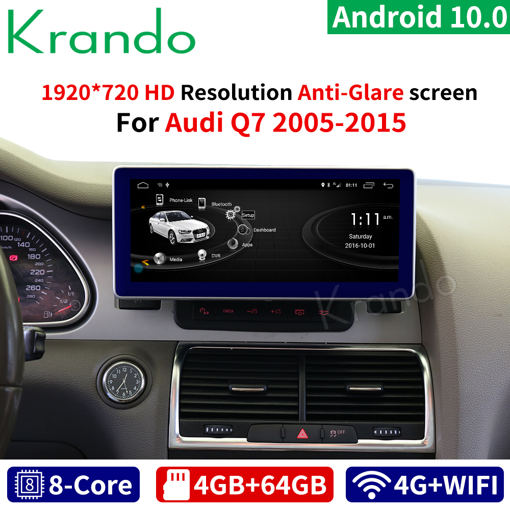 Krando Androidc 10.0 10.25'' car radio for Audi Q7 2005-2015 multimedia player gps navigation with bluetooth image