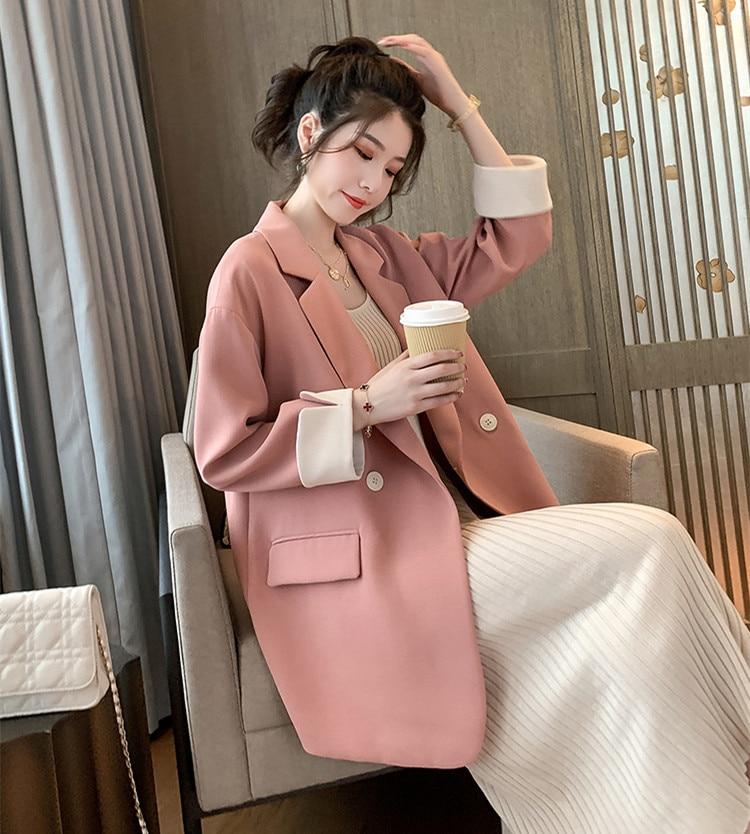 Blazer Jacket Spring Autumn Female Outerwear Elegant Office Ladies  Slim Overcoat