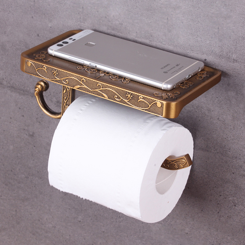 Vidric Toilet Paper Holder With Phone Shelf Durable Practical Wall Mounted Hanging Toilet Paper Holder For Bathroom Vintage Deco