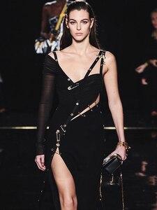 Image 2 - VC כל משלוח חינם 2020 חם חדש שיק אלגנטי סיכת פיצול עיצוב סקסי אחת כתף סלבריטאים המפלגה תחבושת שמלה ארוכה