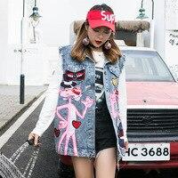 2019, новый стиль, Таиланд, популярный бренд, Розовая пантера с блестками, жилет свободный, по возрасту, джинсовый жилет, пальто