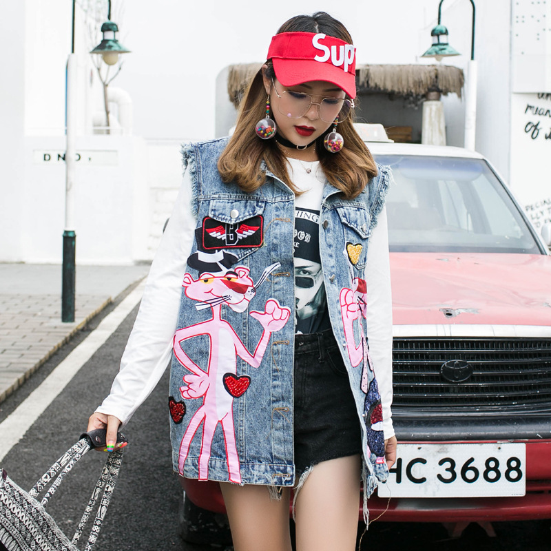 2019 New Style Thailand Popular Brand Cartoon Sequin Pink Panther Vest Loose-Fit By Age Denim Waistcoat Coat