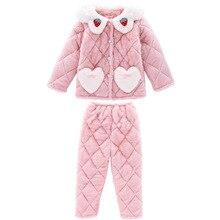Pyjamas Kids Winter Home Pajamas Set For Toddler Girls Children 2021 Three-Layer Plus Velvet Warm Clothing Set
