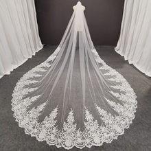 Fotos reais longo laço véu de noiva com pente 3.5 metros 1 camada catedral branco iovry casamento véu acessórios 2020